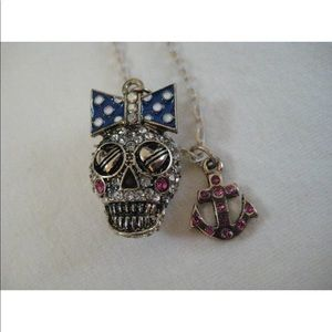 Betsey Johnson Polka Dot Bow Anchor Skull Necklace